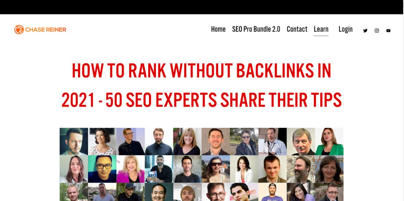 SEO expert roundup rank without backlinks